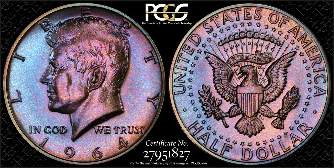 A beautiful colorfully-toned Proof Kennedy Half Dollar